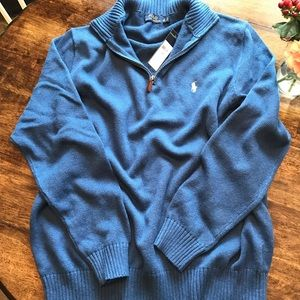 Men's Blue Polo Quarter-Zip Sweater